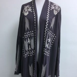 JOHNNY WAS JWLA PURPLE EMBROIDERED DUSTER CARDIGAN